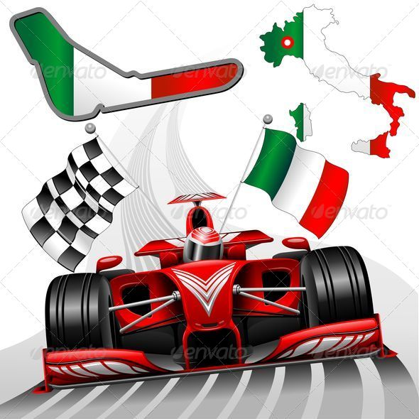 GraphicRiver Formula 1 Red Race Car GP Monza Italy 8712678
