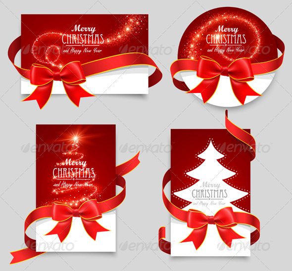 GraphicRiver Gift Cards with Red Bows 8713101