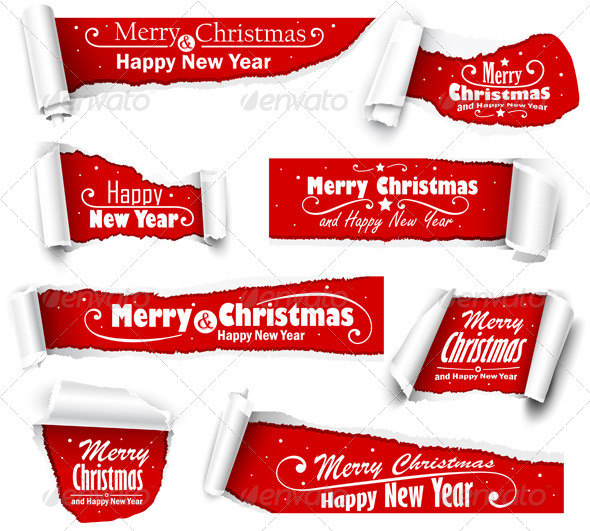 GraphicRiver Collection of Red Paper with Christmas Text 8713122