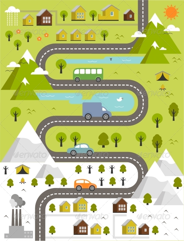 GraphicRiver Cartoon Map of Town 8713120