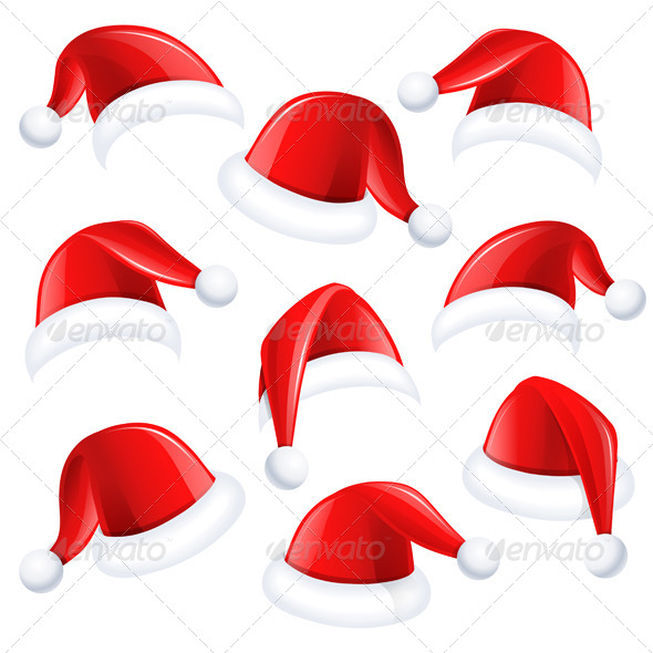 GraphicRiver Set of Red Santa Hats 8713611