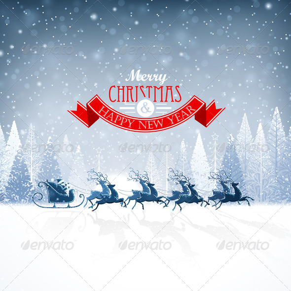 GraphicRiver Santa Claus Rides in a Reindeer Sleigh 8713619