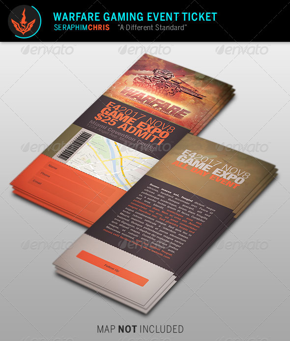 GraphicRiver Warfare Gaming Event Ticket Template 8714060