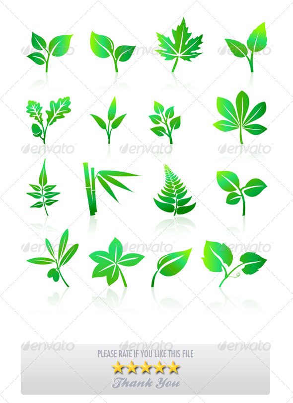 GraphicRiver Green Leaves Icons 8714166