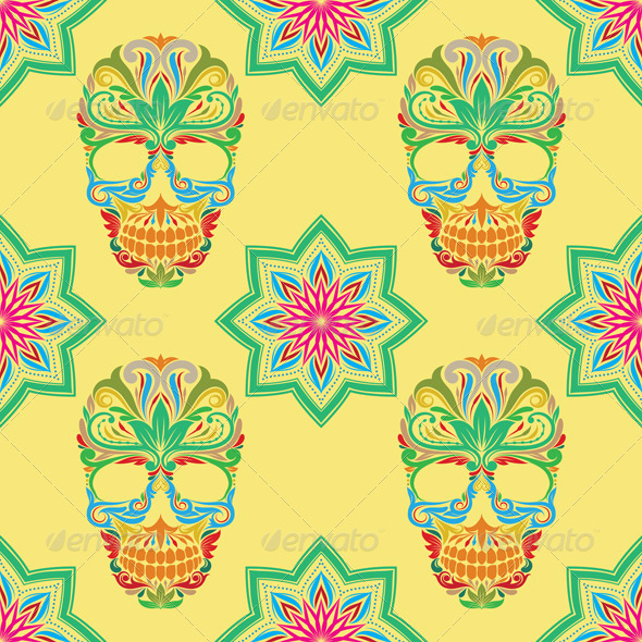 GraphicRiver Skull and Lotus Pattern 8714229