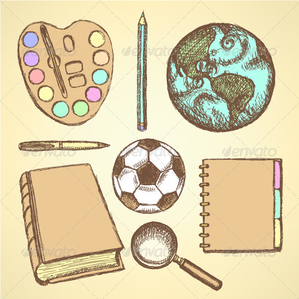 GraphicRiver Education Set in Vintage Sketch Style 8714233
