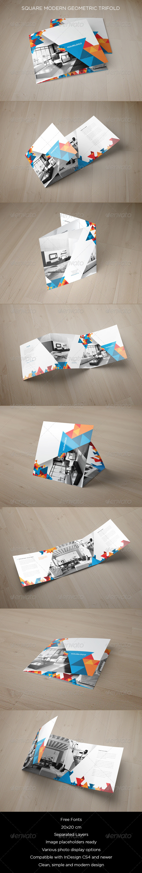 GraphicRiver Square Modern Geometric Trifold 8714368