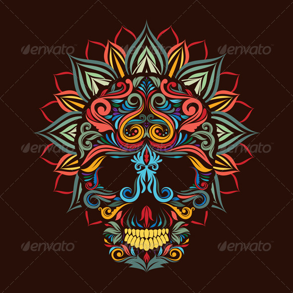 GraphicRiver Skull and Lotus Flower 8714902