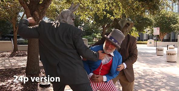 Politicians Beat Up Uncle Sam