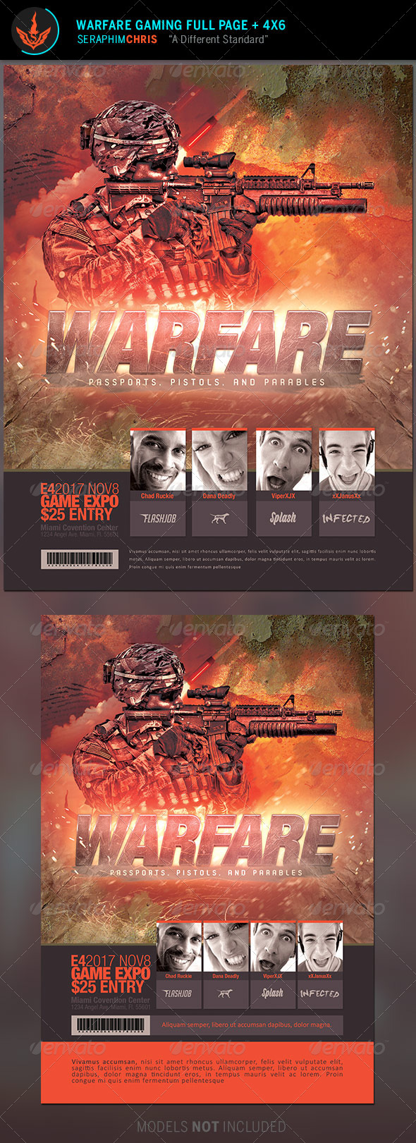 GraphicRiver Warfare Gaming Event Flyer Template 8715236