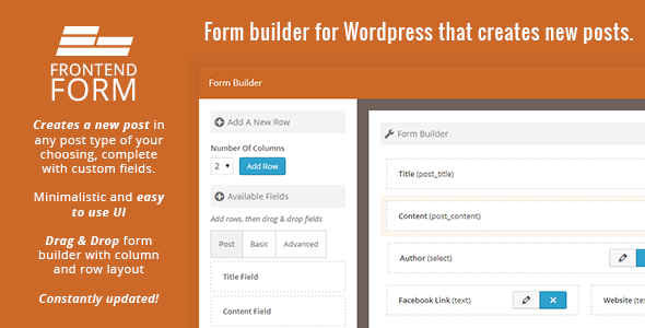 WordPress Frontend Form is an easy to use form builder that is used creates new posts in a specific post type. When a user submits the form, it will create a ne