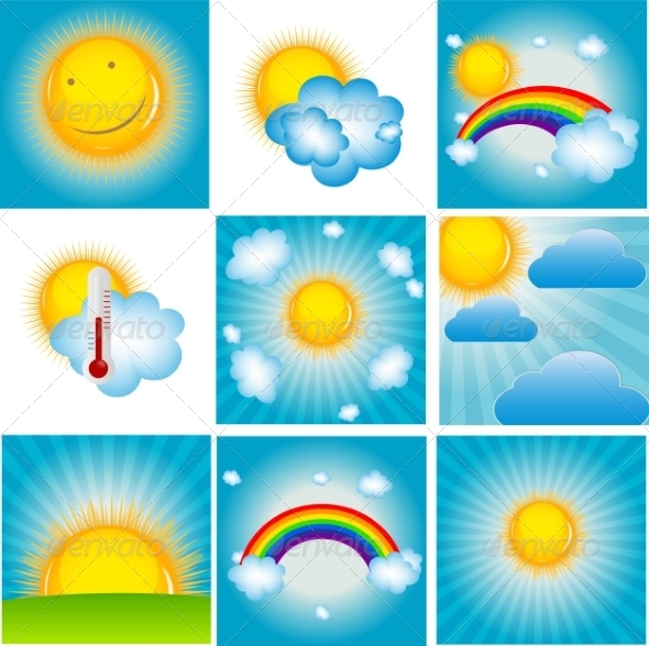 GraphicRiver Sun and Cloud Background Set 8715426
