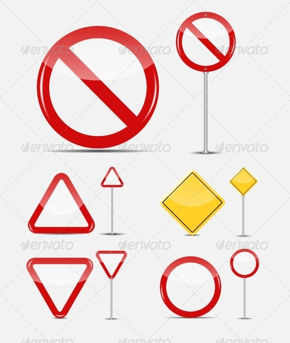 GraphicRiver Blank Traffic Sign Set 8715430