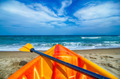 kayak looking at the beach and ocean waves - PhotoDune Item for Sale