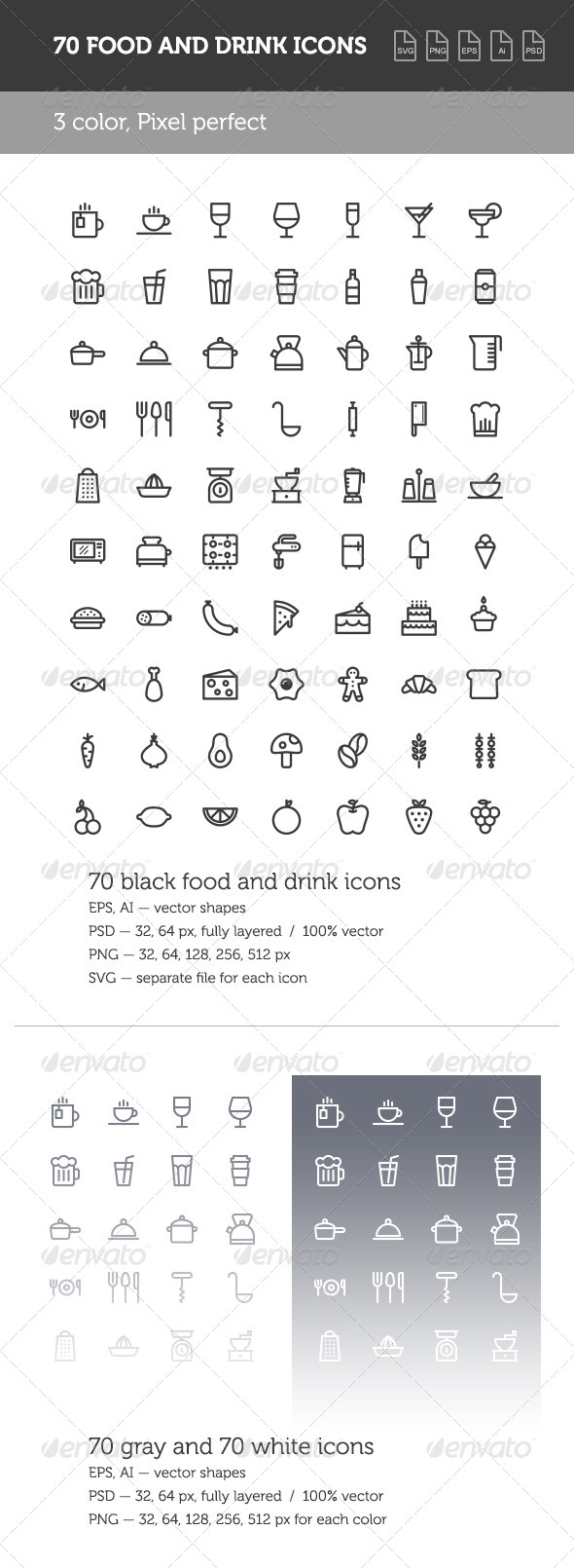 GraphicRiver Food and Drink Icon Set 8690076