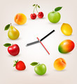 Clock with fruit. Diet time concept.  - PhotoDune Item for Sale