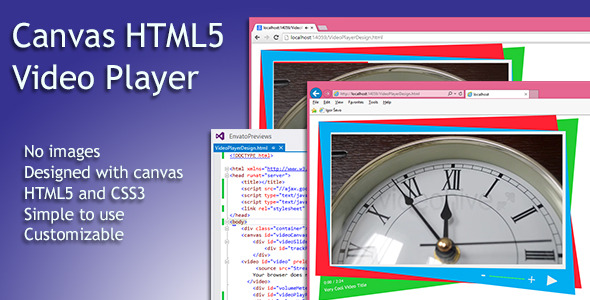 This video player provides simple playback of any browser supported format. Purely HTML5, CSS3 and JavaScript/jQuery. No images, pure CSS. The video player prov
