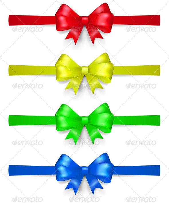 GraphicRiver Set of Multicolored Bows 8715755