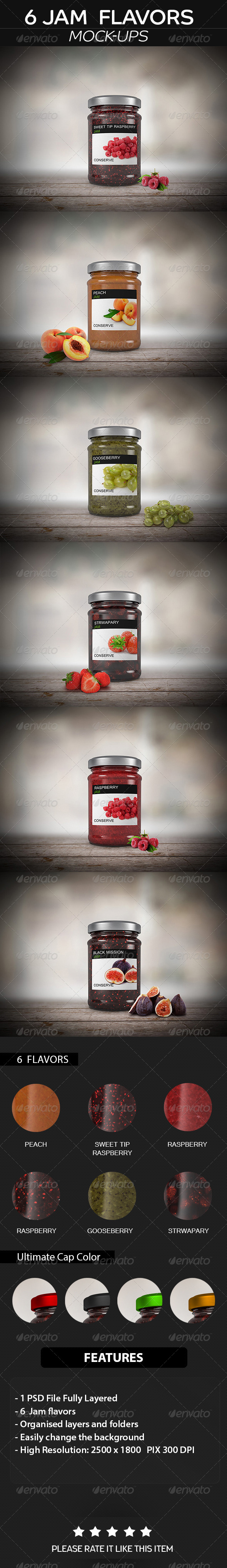 GraphicRiver 6 Jam Jar Flavors Mock up 8689513