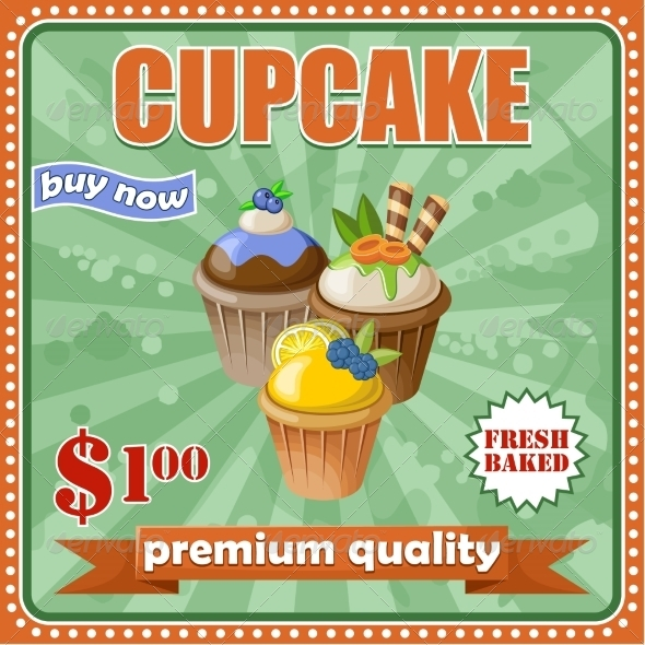 GraphicRiver Vintage Cupcake Poster 8716699