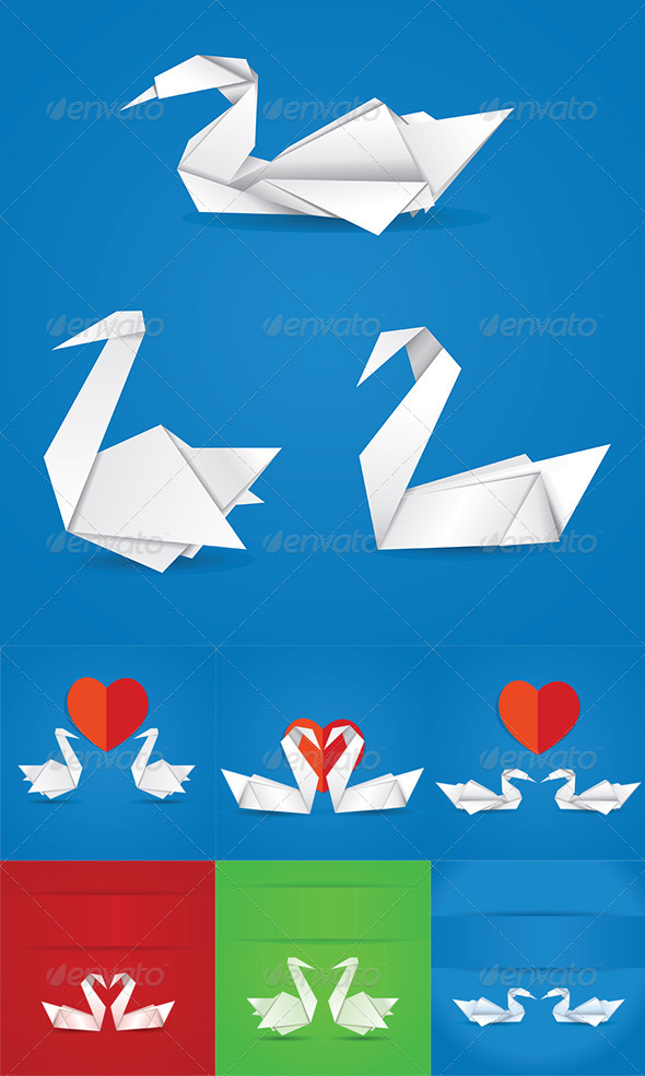 GraphicRiver Origami Swans 8717420