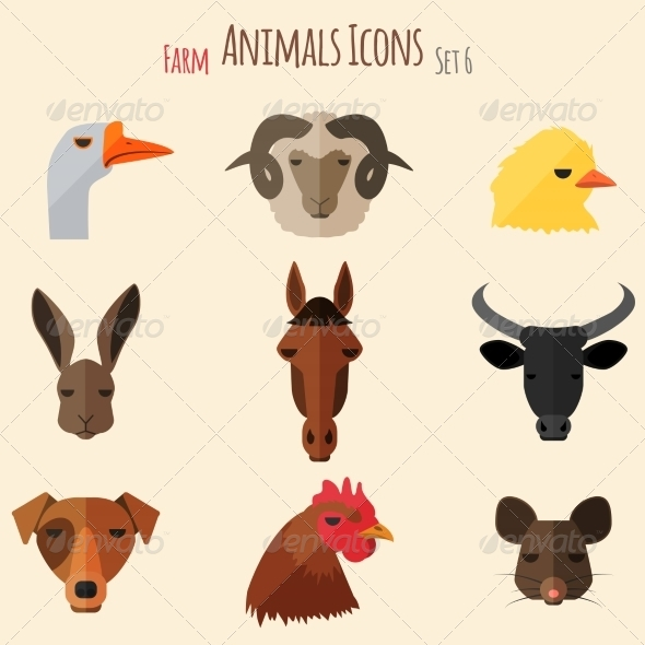 GraphicRiver Farm Animals Icons with Flat Design 8717689