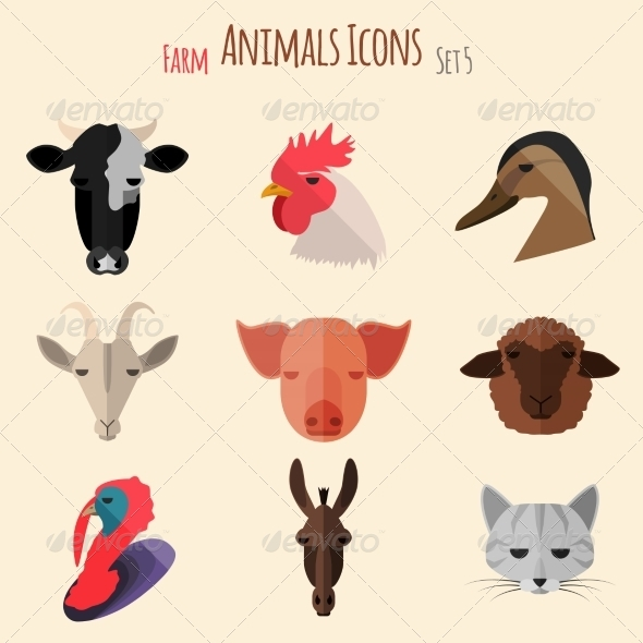 GraphicRiver Farm Animals Icons with Flat Design 8717691