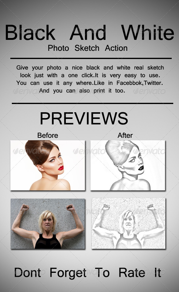 GraphicRiver Black And White Sketch Photo Action 8717704