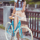 Young elegantly dressed woman with bicycle, summer and lifestyle - PhotoDune Item for Sale