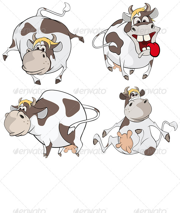 GraphicRiver Set of Cows Cartoon 8717887