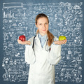 female doctor with two apples - PhotoDune Item for Sale