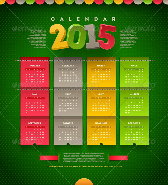 GraphicRiver Vector Template Design Calendar of 2015 8718690