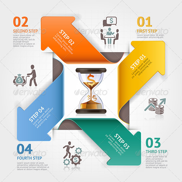 Business Arrow Timeline Management Infographics