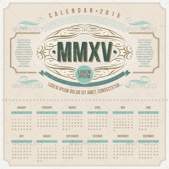 Ornate Vintage Calendar of 2015