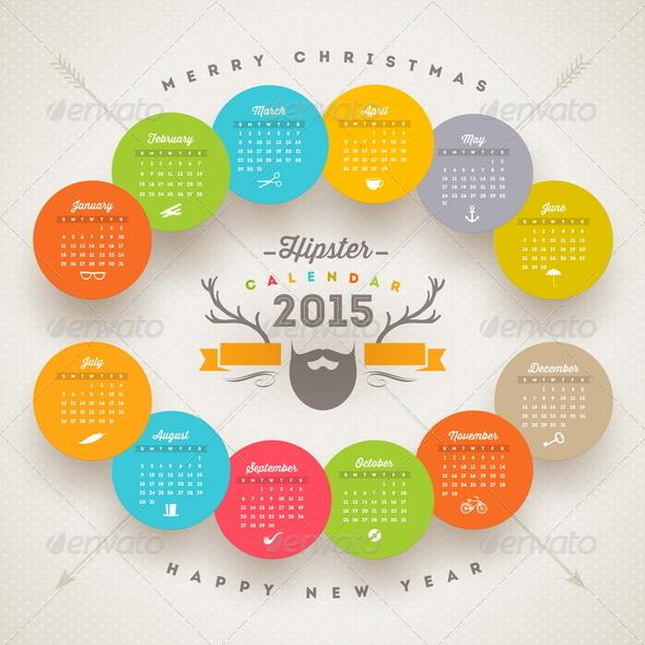 GraphicRiver Hipster Calendar 2015 8718912