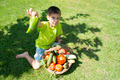 Child and basket with vegetables - PhotoDune Item for Sale