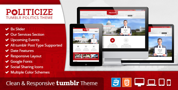 Politicize - Political Responsive Tumblr Theme - Tumblr Blogging