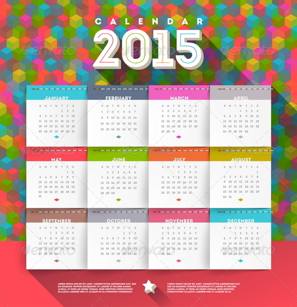 GraphicRiver Vector Abstract Multicolored Calendar of 2015 8719023