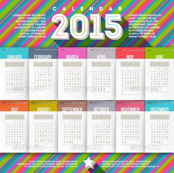 GraphicRiver Vector Abstract Multicolored Calendar of 2015 8719034