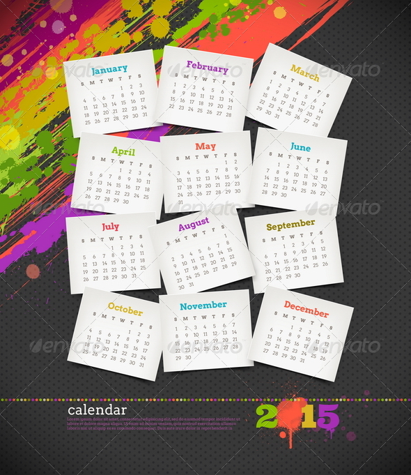 GraphicRiver Calendar 2015 With Grunge Color Blots 8719066