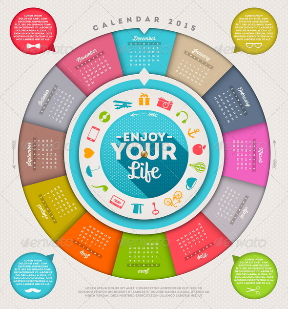 GraphicRiver Calendar 2015 with Hipster Signs 8719542