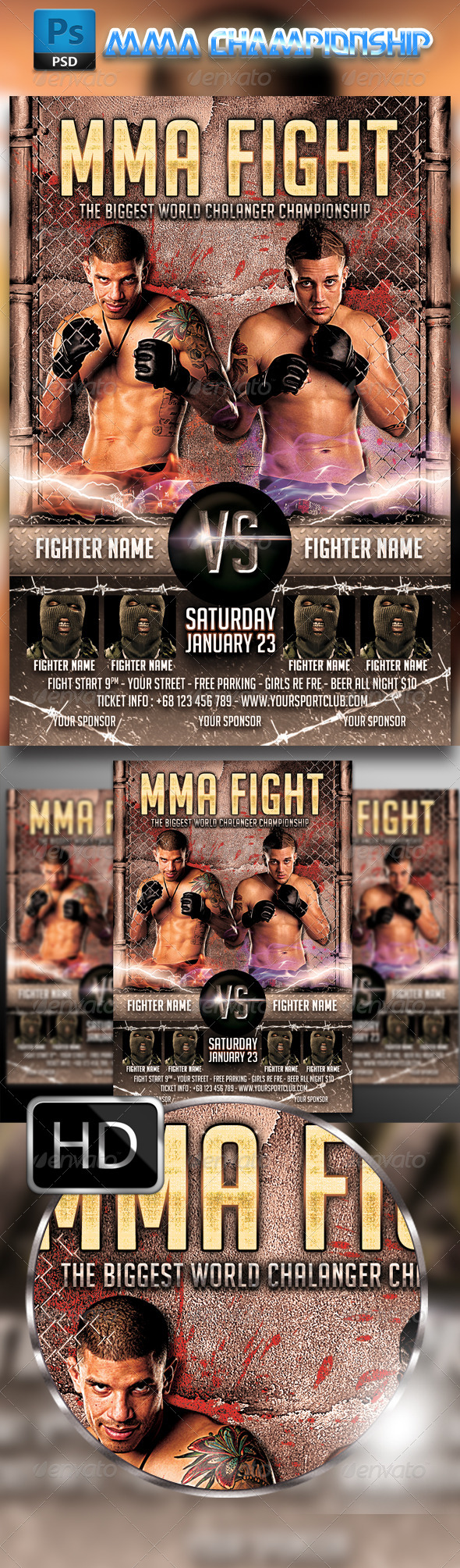 GraphicRiver MMA Fighting Flyer Template #2 8720250