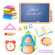 School Elements Isolated on White Background. - GraphicRiver Item for Sale