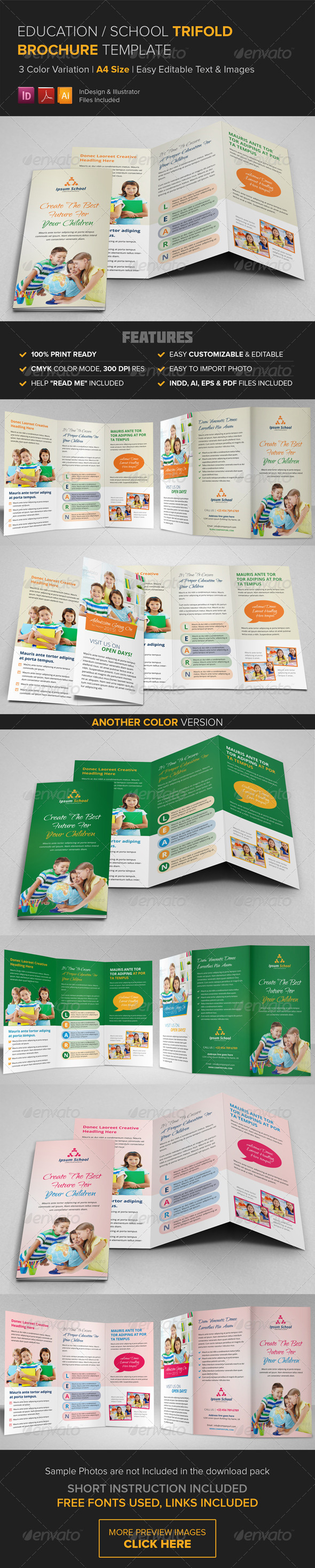 GraphicRiver Education School Trifold Brochure Template 8720694