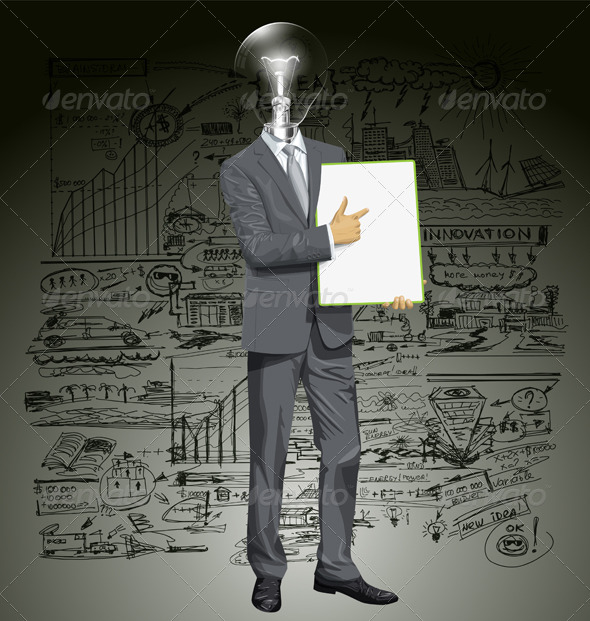GraphicRiver Vector Lamp Head Businessman With Empty Writing Board 8720831