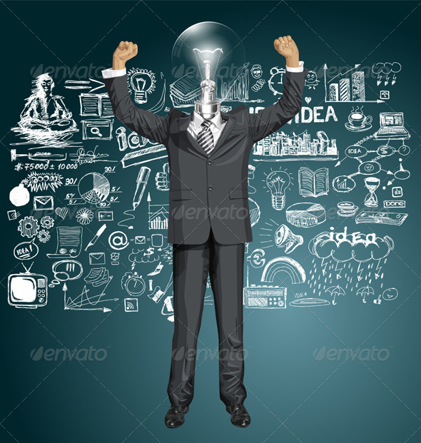 GraphicRiver Vector Lamp Head Businessman With Hands Up 8720842