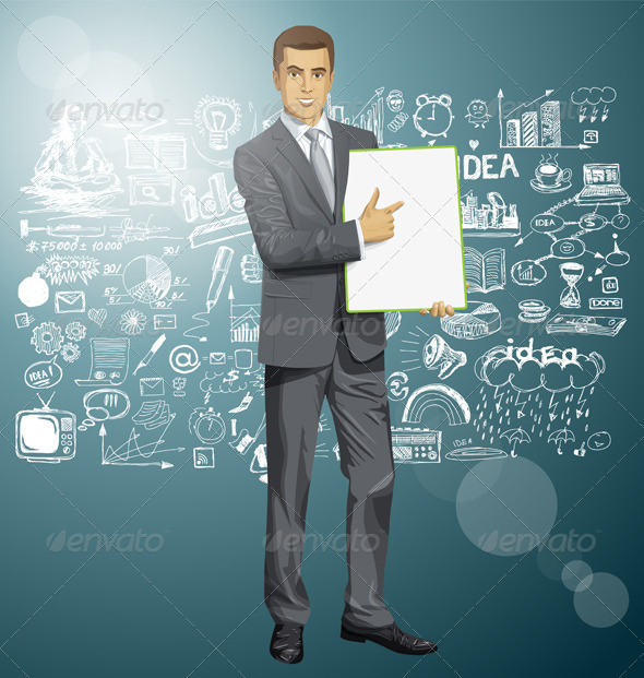 GraphicRiver Vector Businessman With Empty Write Board 8720872