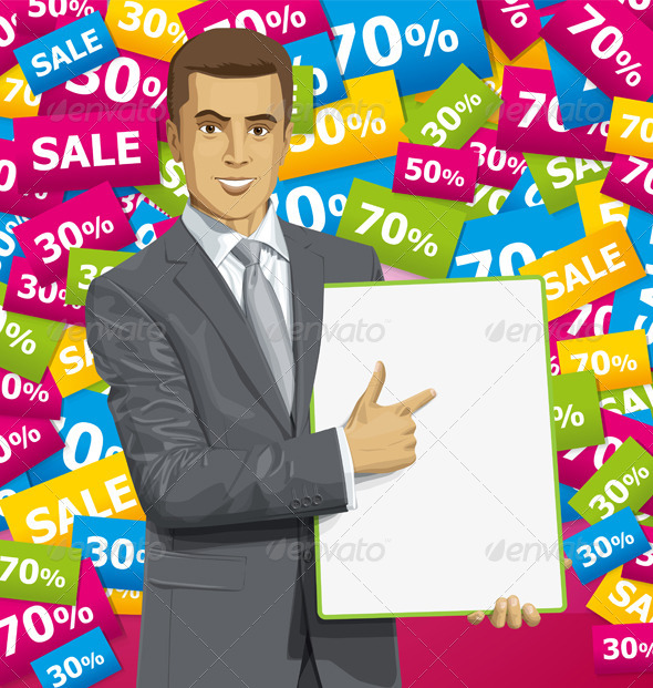 GraphicRiver Vector Businessman With Empty Write Board 8720892