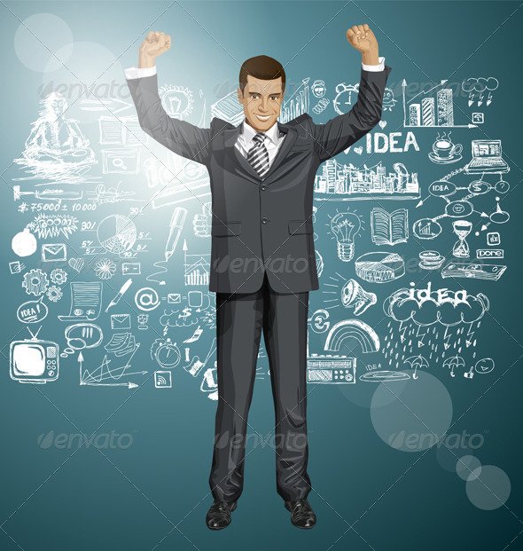 GraphicRiver Vector Businessman With Hands Up 8720927