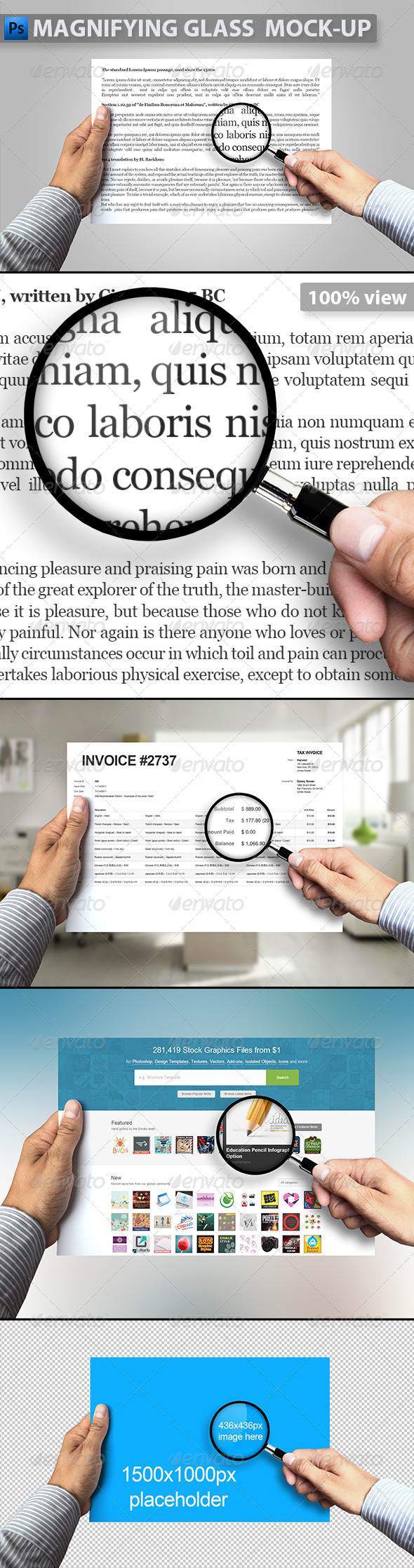 GraphicRiver Magnifying Glass and Paper in Hand Mock-up 8721501